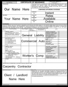 contractor insurance certificate