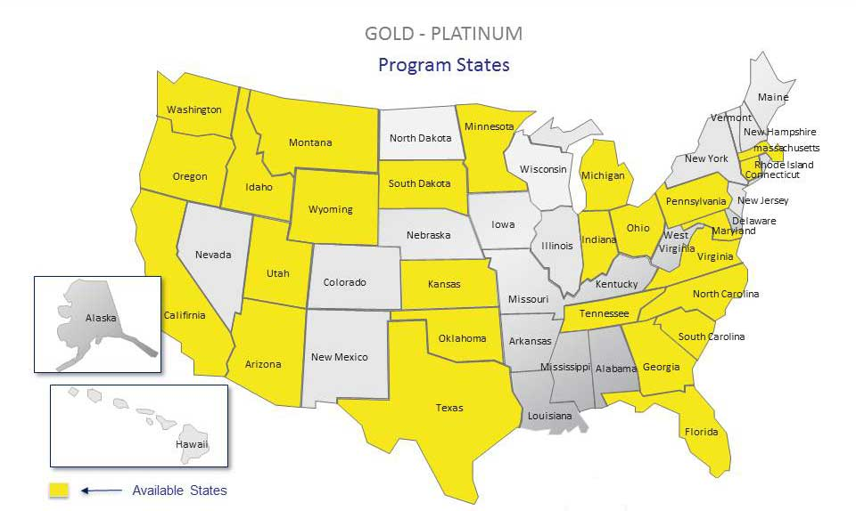 Compare Preferred Contractors Gold Program Map