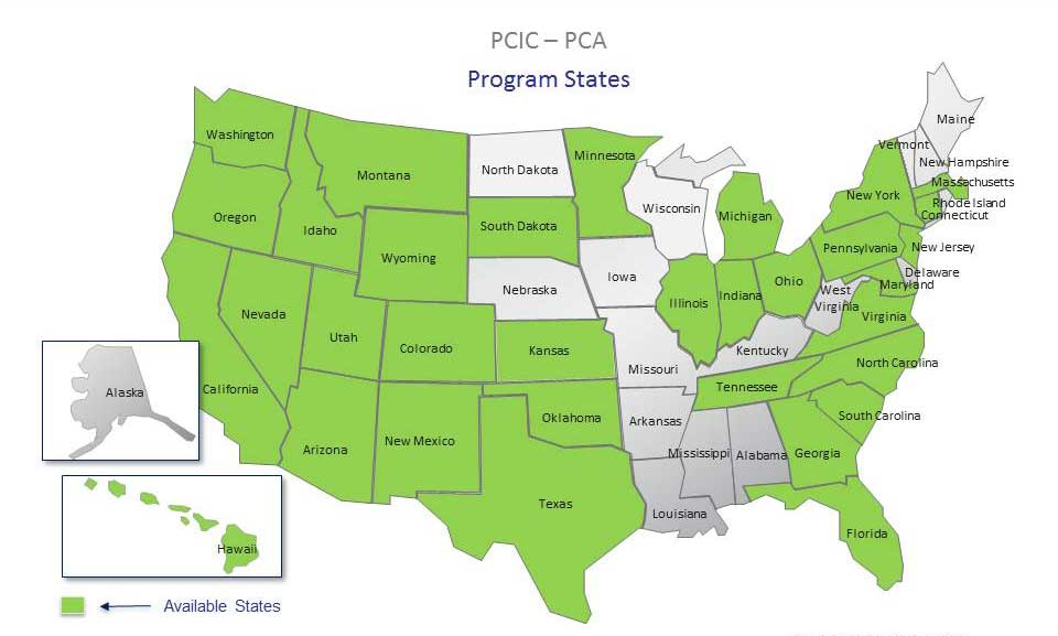 Compare Preferred Contractors PCIC Program Map